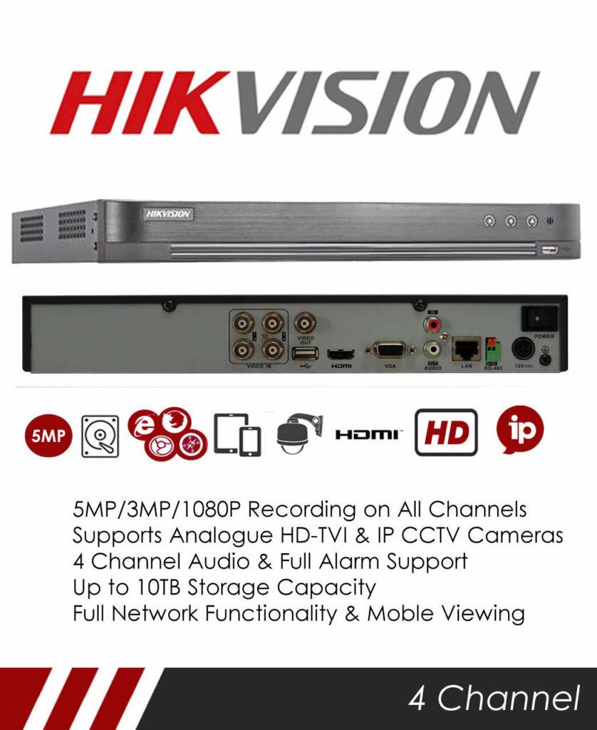 DS-7204HUHI-K1 Hikvision 5MP 4 Channel CCTV DVR Recorder