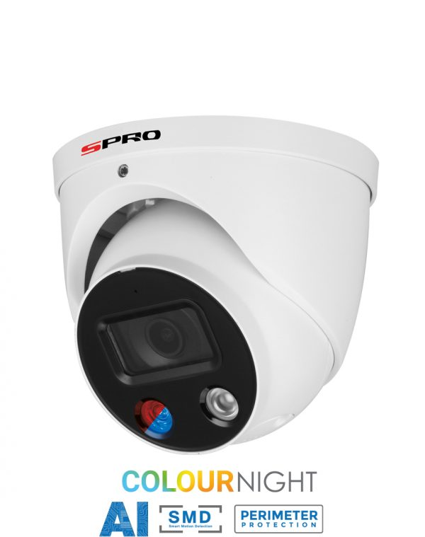 SPRO 5MP IP Fixed Lens Turret with Active Deterrence